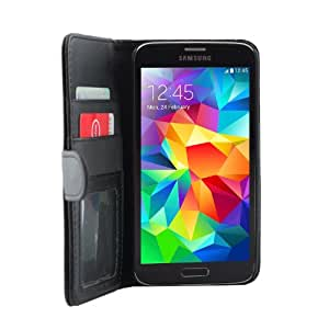 iProtect Samsung Galaxy S5 Schutzhülle Book Style Kunstleder S 5 Premium Wallet Case mit Ausweis Fach schwarz
