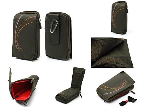 DFV mobile - Custodia Nylon Multiuso con Diversi Scomparti e Passante Cintura Chiusura per Cerniera e Moschettone per => Caterpillar CAT B15Q > colore VERDE