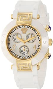 Versace Women's 92CCP11D497 S001 Reve IP Yellow-Gold Ceramic Chronograph Rubber Watch