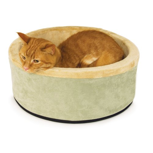 K&H Thermo-Kitty Heated Cat Bed, 16-Inch, Sage