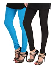 ITNOL Cotton Lycra Leggings (Pack Of 2): Blue / Black