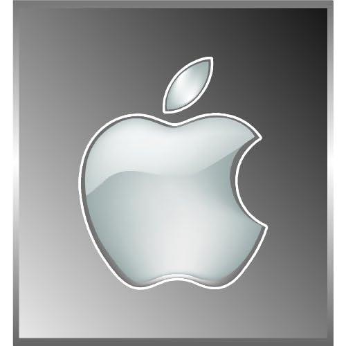 (2) Apple Logo Die Cut Vinyl Decal Sticker 4 White
