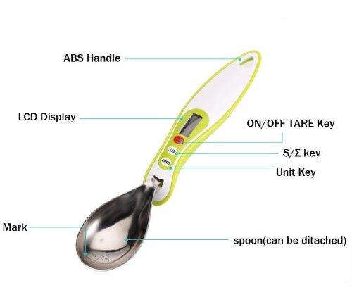 LAGUTE leChef digital 300 g/0,1 g & lCD cuillère-balance de cuisine (g/ml/oz cuillère-balance, jaune