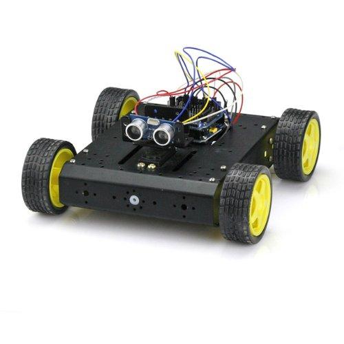 SainSmart UNO + Sensor Shield V5 + 4WD Mobile Platform + Dual H Bridge Stepper Motor Driver + HC-SR04, Ultrasonic Distance Sensor for Arduino UNO MEGA R3 Mega2560 Duemilanove Nano Robot