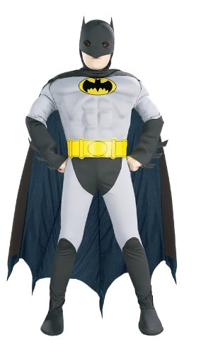 Super DC Heroes Deluxe Muscle Chest The Batman Child's Costume, Medium