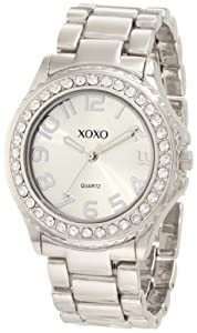 XOXO Women's XO5310  Silver-tone Bracelet With Rhinestones Accent Watch