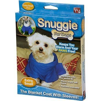 Snuggie For Dogs Blue Colored Fleece Blanket Coat With Sleeves (Extra Small)