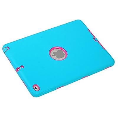 iPad Case, iPad 6 Case, OMIU(TM)[Silicone&PC]Full-body 3 IN 1 Shockproof Back Case For Apple iPad 6(iPad Air 2), Sent Stylus-(Black), Apple iPad 6 Case, Apple iPad Air 2 Case from OMIU