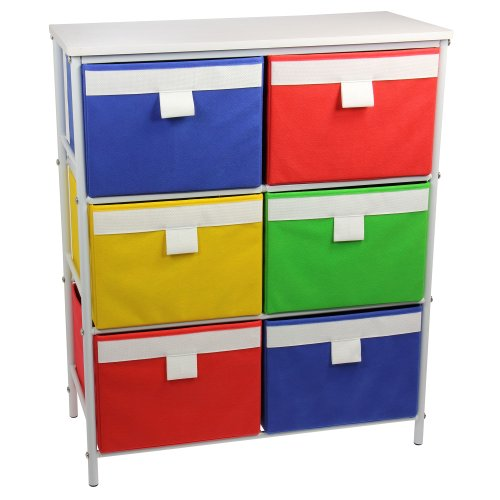 Household Essentials  Metal Storage Unit with 3 Shelves and 6 Removable Multi-Colored Bins, White (Household Essentials Bin Blue compare prices)