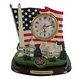 D.C. Monuments and US Flag Desk Clock