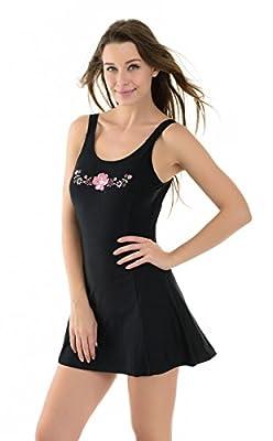 La Isla Women's One Piece Light Padded Swimsuit Swimwear Beachwear with Skirt