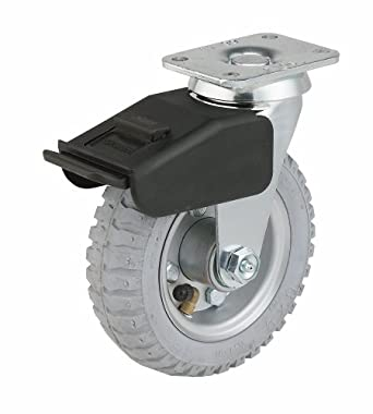 E.R. Wagner Pneumatic Plate Caster, Swivel with Total-Lock Brake, Soft Rubber on Steel Wheel