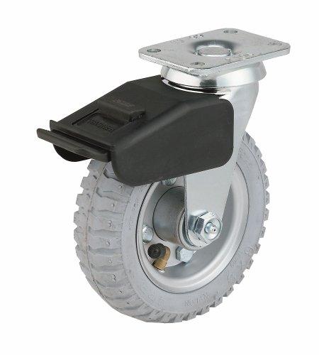 "E.R. Wagner 4FN8 6"" Diameter Fully Pneumatic Soft Tread/Steel Hub Wheel Swivel Plate Caster with Total Lock Brake, 3-3/4"" Length X 2-3/4"" Width Plate, 200 lbs Capacity Range"
