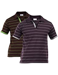 Duke Stardust Iris Slim Fit Polo Collar Half Sleeves Striped Cotton Blend Mens T-shirt - Pack Of 2