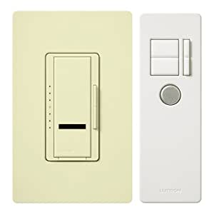 Lutron MIR-600THW-AL 600-Watt Maestro IR Single Pole Digital Fade Dimmer, Almond