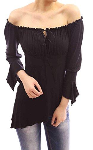 38 schwarz weiß Blusenshirt Bluse Shirt neu Longshirt asymmetrisch Gr