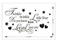 "Coco Digital ""Twinkle twinkle little star,do you know how loved you are.""English Proverbs Nursery Vinyl Wall Art Decal"