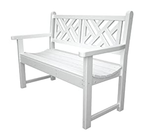 Polywood Outdoor Furniture Chippendale 48 Inch Bench White Recycled Plastic