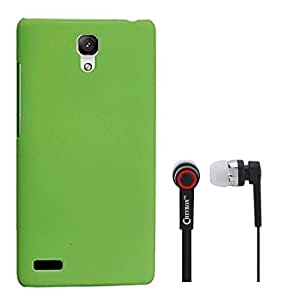 Chevron Rubberized Back Cover Case for Redmi Note Prime With Chevron 3.5mm Stereo Earphones (Green)