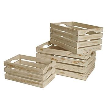 Wald Imports FL5004 White-Washed Distressed Storage Crates, Set of 3