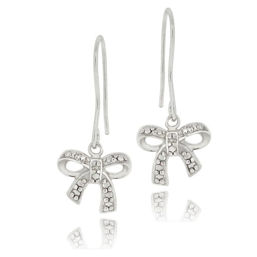 Sterling Silver Diamond Accent Bow Dangle Earrings