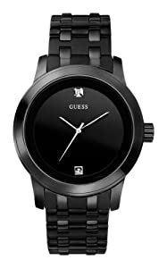 GUESS Men's U12604G1 Self Assured Round Diamond Accent Black IP Watch