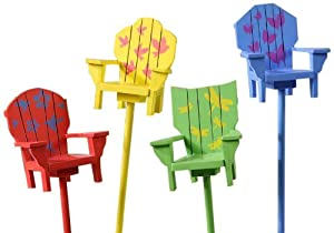 Gift Craft 18.5-Inch MDF and Fir Wood Adirondack Chair Design Plant Picks, Medium (Discontinued by Manufacturer)