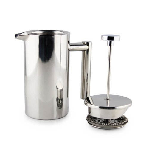 Highwin P1001-3 3-Cup Doublewall Stainless Steel Mirror Finish Coffee Press/ Coffee Plunger With Filter, Silver