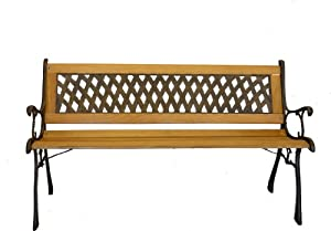 Basket Weave Park Bench- Iron and Wooden Bench for Yard or Garden Product SKU: PB20007 from Pier Surplus