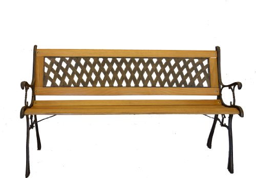 Basket Weave Park Bench- Iron and Wooden Bench for Yard or Garden Product SKU: PB20007