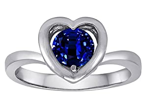 Original Star K(tm) Heart Engagement Promise of Love Ring with 7mm Round Created Sapphire in 925 Sterling Silver Size 6