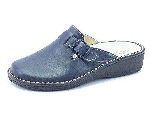 Pantofole Cinzia Soft in nappa blucon fibbia regolabile (Taglia 36)