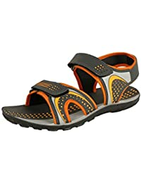 Tempo Men's Grey Orange Synthetic Leather Sandal