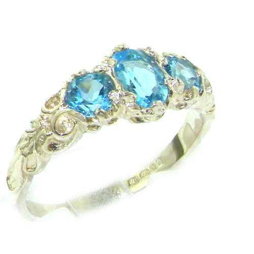 Ladies Solid Sterling Silver Natural Blue Topaz English Victorian Trilogy Ring - Size 12 - Finger Sizes 5 to 12 Available - Suitable as an Anniversary ring, Engagement ring, Eternity ring, or Promise ring