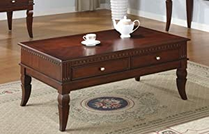 Antique Dark Cherry Finish Coffee Table with Two Drawers