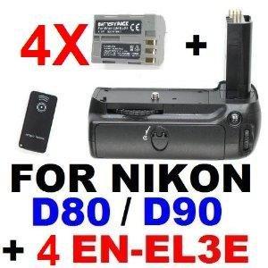 Meike Battery Grip MB-D80 for Nikon D90 D80 w/ IR Remote & 4x EN-EL3e Lithium-Ion Batteries