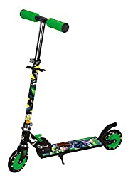 Toyhouse Ben 10 Two Wheeled Metal Folding Skate Scooter with Light Up Wheels and Height Adjustable Handlebar, Black & Green