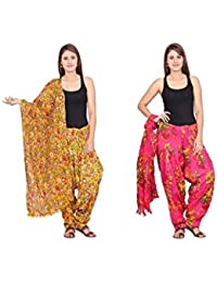 Rama Set Of 2 Floral Print Pink & Yellow Colour Cotton Full Patiala With Dupatta Set