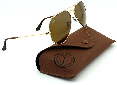 Image of Ray-Ban RB3025 Aviator Large Metal Unisex Sunglasses (Gold Frame/ Crystal Brown Lens 001/33, 58)