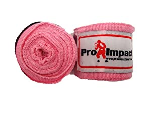 Buy Boxing MMA Handwraps 180 Mexican Style Elastic 1 Pair PINK by Pro Impact