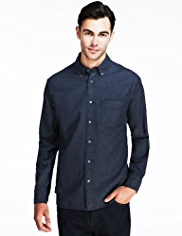 2in Longer Pure Cotton Herringbone Striped Denim Shirt