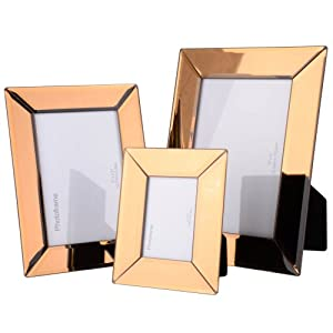 3 pack rose gold glass mirrored picture frames includes 3 different sizes kitchen. Black Bedroom Furniture Sets. Home Design Ideas