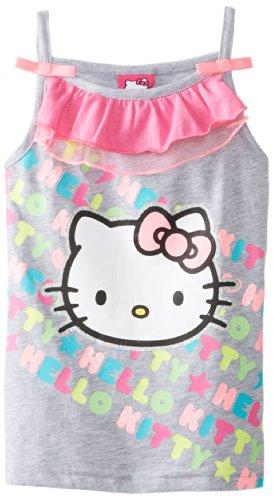Hello Kitty Little Girls' Fashion Tank, Heather Grey, 6X front-889995
