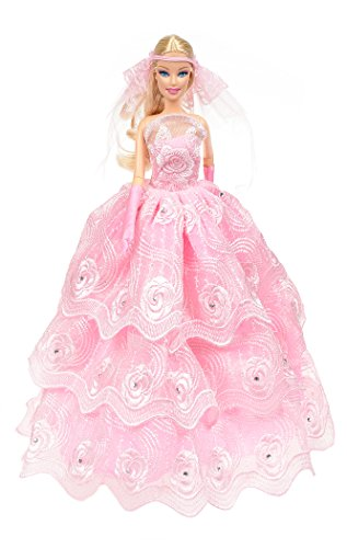 Banana Kong Doll's Romantic Pink Wedding Gown Dress + Veil + Gloves
