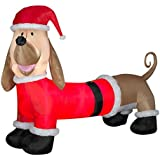 Gemmy Airblown Inflatables 87551X Dachshund With Santa Outfit