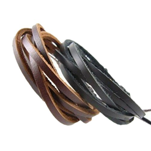 Original Tribe 2-pack in pelle nera bracciali & Brown - Moda in pelle regolabile Wristband Cuff Bracelet - Grande per Uomini, Donne, Ragazze, Ragazzi, Ragazze SL2494