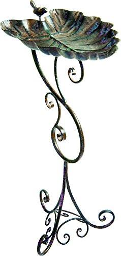 """Gardman BA01691 Ornate Leaf Metal Bird Bath, 12.01"""" Wide x 29.33"""" High"""