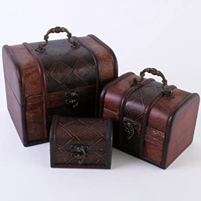 unusual large wooden leather-look luggage set 3 stacked trinklet / jewellery boxes from noveltymoneyboxes