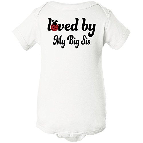 Inktastic Baby Girlsâ€Tm Loved By My Big Sis Infant Creeper Newborn White front-660825