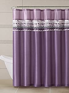 Poetica Faux Silk Purple Plum Fabric Bathroom Shower Curtain